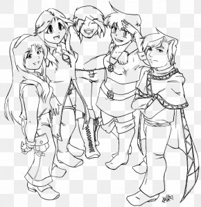 Group Of Friends - Finger Homo Sapiens Line Art Human Behavior White PNG