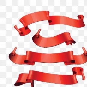 Red Ribbon - Euclidean Vector Ribbon Clip Art PNG