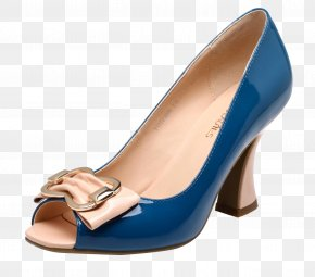 Dark Blue Fish Mouth High Heels - Shoe PNG