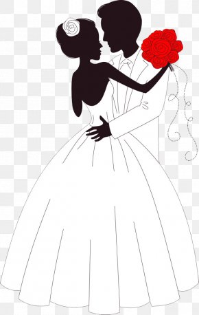 Bride And Groom Embracing - Wedding Invitation Bride Illustration PNG