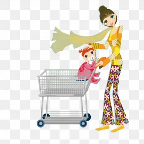 Push Mother Put The Baby Cart - Mother Clip Art PNG