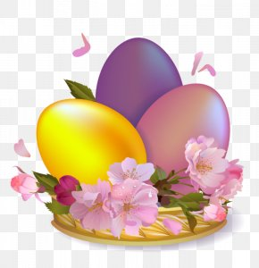 Large Beautiful Easter Eggs - Easter Bunny Easter Egg PNG