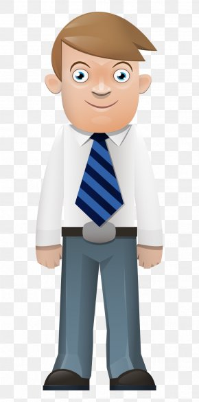 Hand-painted Cartoon Man Standing Front Tie - Cartoon Illustration PNG