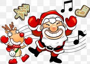 Santa Claus With Musical Notes - Santa Claus Christmas Adobe Illustrator PNG