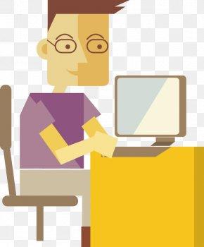 Man Playing Computer - Computer Computer File PNG