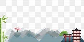 Japan's Flat Landscape - Japan Flat Design Wallpaper PNG