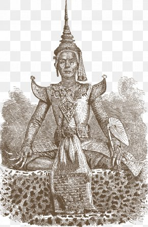 Thailand Female Buddha - Middle Ages Ancient History Costume Design Black And White Drawing PNG