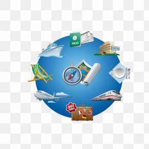 Blue World Map - Air Travel Clip Art PNG