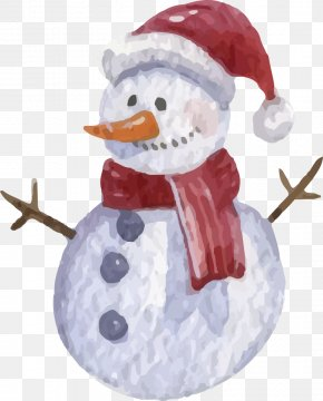 Vector Painted Snowman - Snowman Watercolor Painting Christmas Illustration PNG