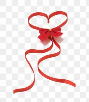 Ribbon Bow - Red Ribbon Heart Love Valentines Day PNG