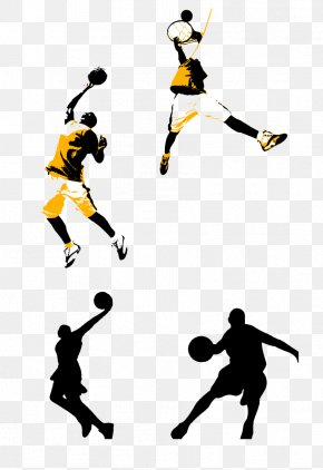 Yellow Basketball Player Picture Material - Basketball Court Slam Dunk Clip Art PNG