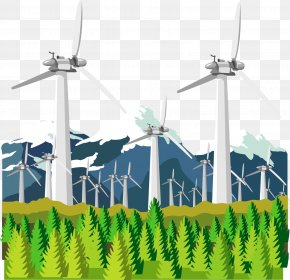 Suburban Power Train - Wind Farm Windmill Electricity Generation Euclidean Vector PNG