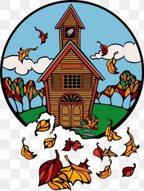 Fall Scenes Cliparts - School Autumn Education Clip Art PNG