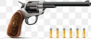 Vector Pistol And Bullets - Bullet Firearm Pistol Revolver Handgun PNG