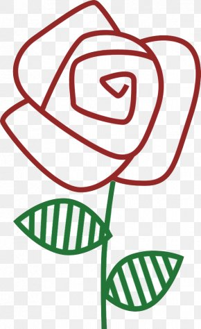Red Rose Stick Figure - Stroke Flower Ink Brush Beach Rose Red PNG