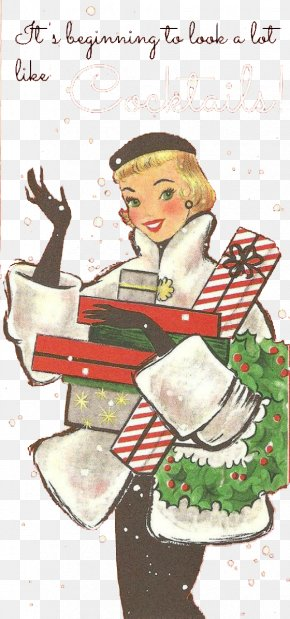 European Blonde Woman Holding Gift - Christmas Ornament Christmas Card Holiday Vintage Clothing PNG