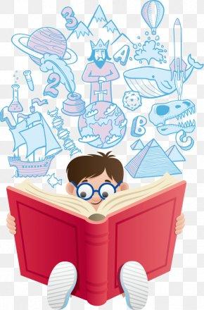 Vector Child Reading - Reading Cartoon Book Illustration PNG