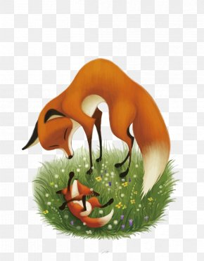 Vector Fox Mother And Son - Art PNG