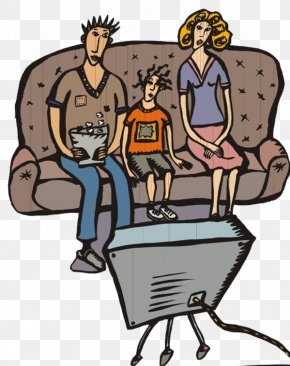 The Family Watched TV - Television Cartoon Illustration PNG