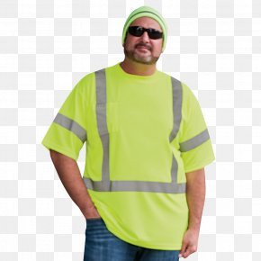 T-shirt - High-visibility Clothing T-shirt Shoulder Gilets Sleeve PNG