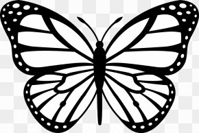 Cartoon Monarch Butterfly - Monarch Butterfly Outline Clip Art PNG