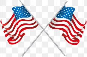 USA Crossed Flags Clip Art Image - Flag Of The United States Clip Art PNG