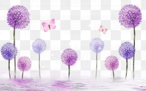 Purple Dandelion Background Perspective - Paper Painting Bedroom Wallpaper PNG
