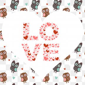 Cute Owl Decorative Background Vector Material - Owl Cartoon Heart Illustration PNG
