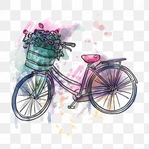 Vector Spring Cycling - T-shirt Handbag Bicycle Tote Bag PNG