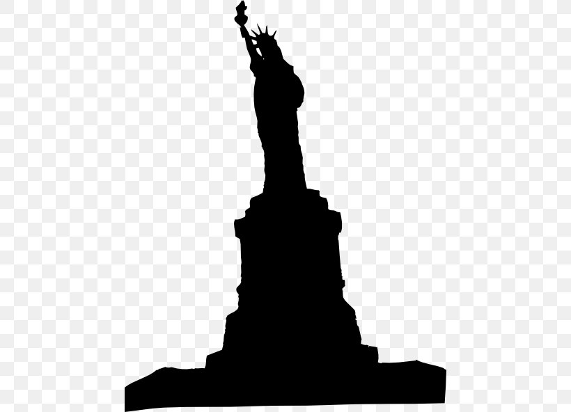 Statue Of Liberty Silhouette Clip Art, PNG, 462x592px, Statue Of Liberty, Art, Black And White, Hand, Liberty Download Free