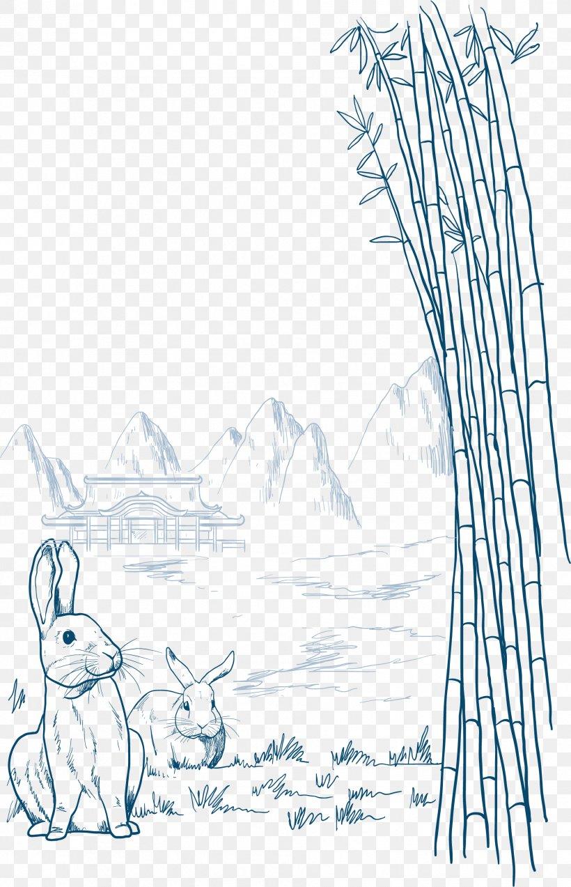 Rabbit Mid-Autumn Festival Illustration, PNG, 1881x2922px, Rabbit, Area, Art, Autumn, Black And White Download Free