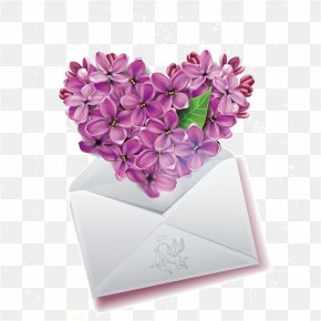 Romantic Lilac Envelope Vector Material - Emoticon Heart Smiley Emoji Clip Art PNG