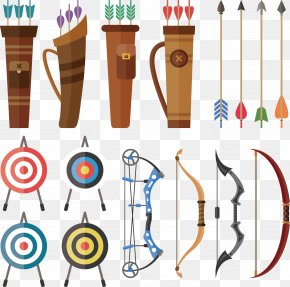 Vector Hand-drawn Crossbow Archery Target - Bow And Arrow Archery Hunting Euclidean Vector PNG