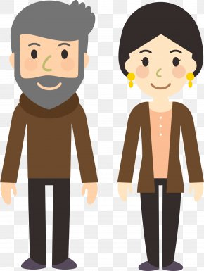 Flattened Characters Men And Women Standing Cartoon Style - Drawing Animation Cartoon Clip Art PNG