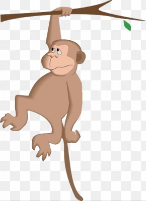 The Monkey Reached For The Branch - Monkey Cartoon Tree Clip Art PNG