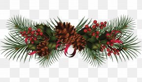 Pine Cone Decoration Image - Christmas Garland Wreath Clip Art PNG