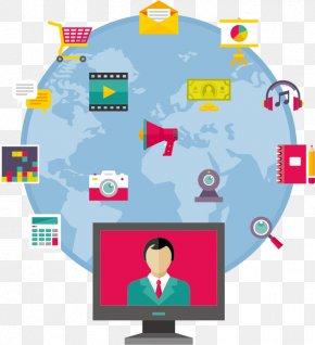 Vector Internet Technology - Internet World Wide Web Flat Design Illustration PNG