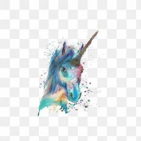 Watercolor Unicorn - Unicorn Watercolor Painting Canvas PNG