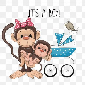 Cute Monkey Mother - Monkey Infant Clip Art PNG