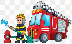 Fireman - Fire Engine Firefighter Cartoon Illustration PNG