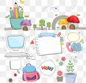 Vector Cartoon School Supplies - Learning School Clip Art PNG