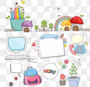 Vector Cartoon School Supplies - Learning School Clip Art PNG