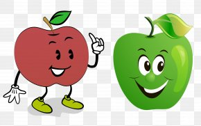 Cartoon Hand Painted Anthropomorphic Apple Collection - Apple Cartoon Clip Art PNG