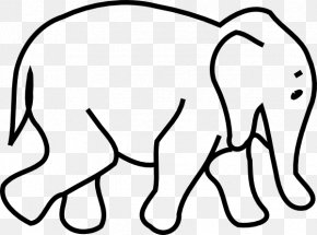 Elephant Black And White - Elephantidae Black And White Drawing Clip Art PNG