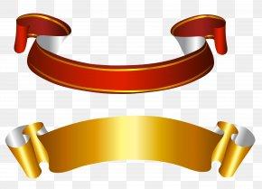 Transparent Ribbon Cliparts - Gold Banner Paper Clip Art PNG