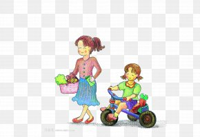 Grocery Shopping Mother And Child - Mother Vegetable Cartoon PNG