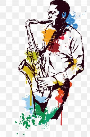 Stained Water Saxophonist - Saxophone Jazz PNG