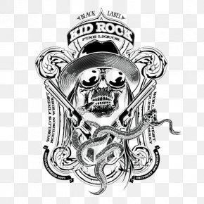 Black And White Skull Badge Illustrations - Black And White Skull Illustration PNG