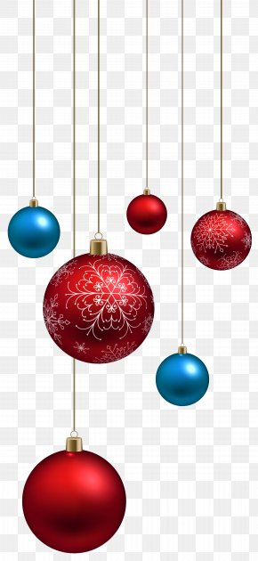 Red And Blue Christmas Balls Clipart Image - Santa Claus Christmas Ornament Clip Art PNG