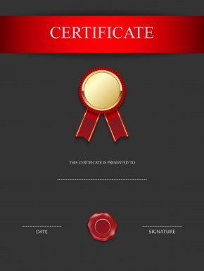 Red And Black Certificate Template Image - Certification Academic Certificate Public Key Certificate Diploma PNG